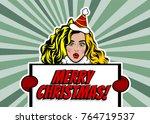 blonde girl hold banner girl... | Shutterstock .eps vector #764719537