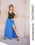 a lovely asian female model... | Shutterstock . vector #764720437