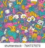 hand drawn detailed cartoon... | Shutterstock .eps vector #764727073