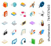 brochure icons set. isometric... | Shutterstock .eps vector #764737603