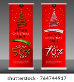 christmas sale roll up banner... | Shutterstock .eps vector #764744917