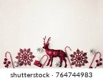 red christmas red decorations... | Shutterstock . vector #764744983