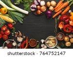 frame of fresh organic... | Shutterstock . vector #764752147