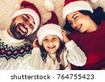 christmas family  happy mom dad ... | Shutterstock . vector #764755423