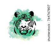 watercolor tiger colorful | Shutterstock .eps vector #764767807