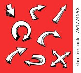 arrow cartoon set 3d style on... | Shutterstock .eps vector #764774593