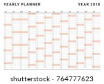 year 2018 planner calendar... | Shutterstock .eps vector #764777623