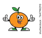 cartoon orange character giving ... | Shutterstock .eps vector #764798293