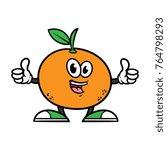 cartoon orange character giving ... | Shutterstock .eps vector #764798293