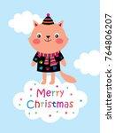 cute kitten merry christmas... | Shutterstock .eps vector #764806207
