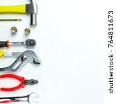 top view of working tools... | Shutterstock . vector #764811673