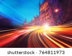 Small photo of Abstract Motion speed light with london city background