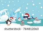 north pole animal background... | Shutterstock .eps vector #764812063