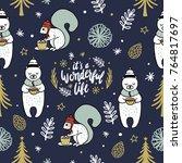 seamless vector christmas... | Shutterstock .eps vector #764817697