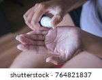 closeup of female hands testing ...   Shutterstock . vector #764821837