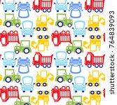 funny cartoon car pattern... | Shutterstock .eps vector #764839093