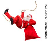 funny santa claus cling on rope ... | Shutterstock . vector #764844493