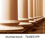ancient greek columns in aged... | Shutterstock . vector #76485199