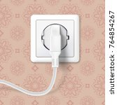white plug inserted in a wall... | Shutterstock .eps vector #764854267