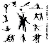 set of silhouettes of athletes   Shutterstock .eps vector #764861137