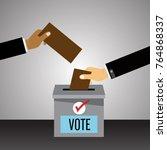 hand putting voting paper in...   Shutterstock .eps vector #764868337