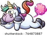 farting cartoon unicorn. vector ... | Shutterstock .eps vector #764873887