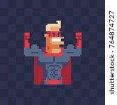 superhero character. pixel art... | Shutterstock .eps vector #764874727