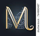 vector letter m. golden... | Shutterstock .eps vector #764880487