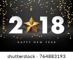 2018 merry christmas and happy... | Shutterstock .eps vector #764883193