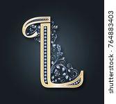 vector letter l. golden... | Shutterstock .eps vector #764883403