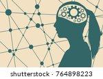 silhouette of a woman's head.... | Shutterstock . vector #764898223