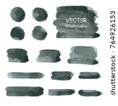 set of black watercolor brush... | Shutterstock .eps vector #764926153