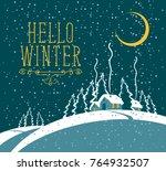 vector winter night landscape... | Shutterstock .eps vector #764932507