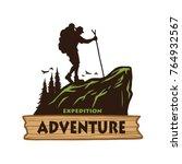 hiking logo template. vector... | Shutterstock .eps vector #764932567