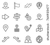 thin line icon set   pointer ... | Shutterstock .eps vector #764935477