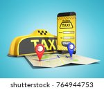 ordering a taxi cab online... | Shutterstock . vector #764944753