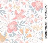 vector floral seamless pattern... | Shutterstock .eps vector #764958097