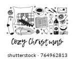 hand drawn holiday fashion... | Shutterstock .eps vector #764962813