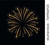 beautiful gold firework. bright ... | Shutterstock .eps vector #764966923