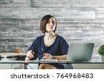 portrait of attractive european ... | Shutterstock . vector #764968483