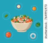 fresh vegetables salad vector... | Shutterstock .eps vector #764991973