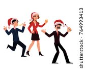 mans and woman in santa hats... | Shutterstock .eps vector #764993413