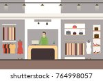 interior of a modern and... | Shutterstock .eps vector #764998057