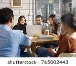 group of five businesspeople... | Shutterstock . vector #765002443