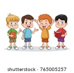 school boys cartoon | Shutterstock .eps vector #765005257