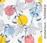 seamless pattern with fig tree. ...   Shutterstock .eps vector #765006823