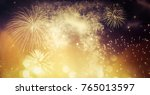 fireworks at new year and copy... | Shutterstock . vector #765013597