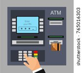 flat design of atm machine... | Shutterstock .eps vector #765016303