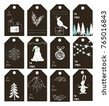 christmas gift tags. new year... | Shutterstock .eps vector #765016843