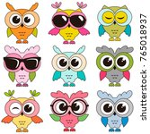 set of cool colorfull owls... | Shutterstock . vector #765018937